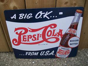 Pepsi Bottle Advertising Metal Sign