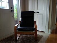 Great contemporary leather and hard wood (Oak) chair
