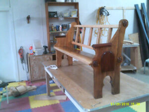 Solid Oak Bench converted from Old Church Pew