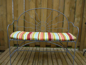 Wrought Iron Love Seat/Bench with Sun Design for inside or out