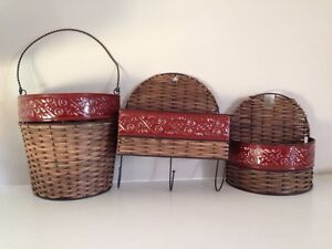 Wicker and red tin basket set
