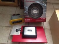 Pioneer car audio kit: receiver, remote, amp & subwoofer