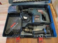 Bosch Drill Rotary/Hammer, with case, 2 batteries