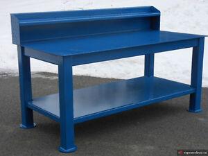 Table de travail / établi en métal avec dosseret