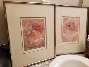 TWO Mari Sue Gaba Wall Framed Art  11 X 14