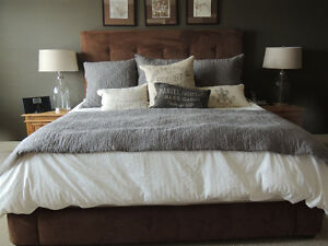 Beautiful Brown Suede King Headboard and matching Rails London Ontario image 1