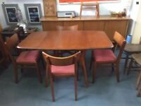 Authentic Mid Century G Plan Brandon Range Dining Table and 4 Original Chairs