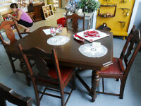 Walnut Dining Table with 4 chairs and Captains Chair