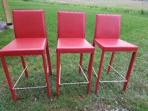 Red metal bar stools