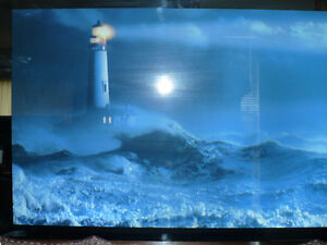 Mirrored Lighthouse Ocean Picture w/Adjustable Sound