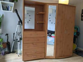 Mirror wardrobe + night stand