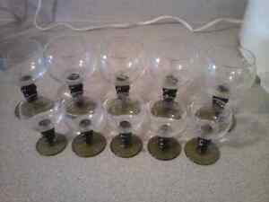 Set of 10 retro schnapps and brandy glasses from 1960s Stratford