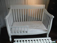 White Convertable Crib and Matress For Sale