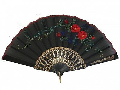 Black Chinese Folding Cloth Hand Fan - Folding Hand Fans