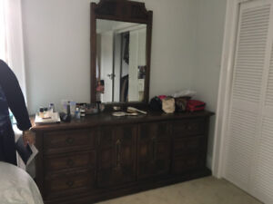 Bedroom set - solid dark wood