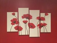 Set of 4 canvas poppy prints