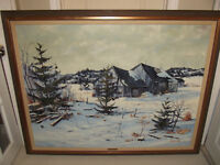 OIL PAINTING ON BOARD WINTER LANDSCAPE VINTAGE