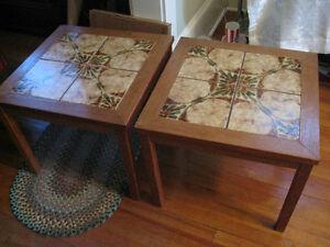 Retro 1970's Teak & Oak Ceramic Tile End Tables