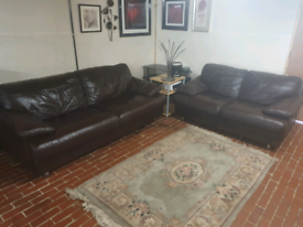 Dfs 3+2seater brown real leather sofa's