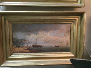 PAIR ANTIQUE VICTORIAN 1882 SIGNED OIL PAINTINGS SEASIDE