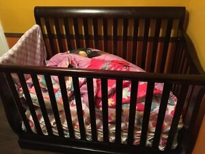 Crib and Changing table espresso