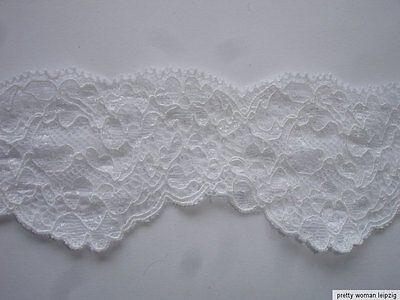 3 Lfm breite elastische Spitze 1,59€/m weiß 5,4cm breit AO32