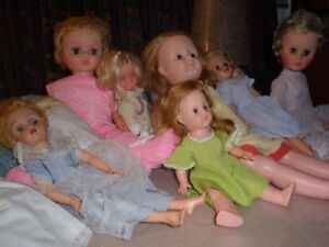 Seven [7] VINTAGE DOLLS, 1950's to 1970's
