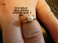 10 K GOLD PEARL RING