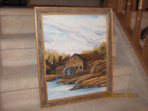 Oil Painting - Millhouse with Water Wheel by Ed Crowe