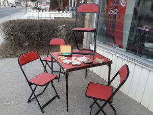 1950's RED CARD TABLE WITH 4 CHAIRS + CARDS NEAR MINT