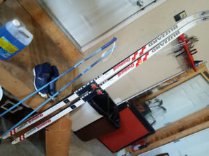 Cross country skis, boots, and poles