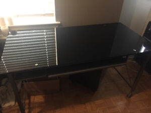Black Glass (tempered) and Steel Desk