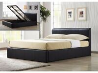 BRAND NEW *** DOUBLE LEATHER OTTOMAN STORAGE BED FRAME WITH SUPER ORTHOPAEDIC MATTRESS (4FT6)