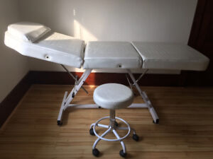 Facial and massage bed with stool