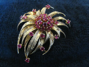Gold / Ruby Vintage Broach and Earings