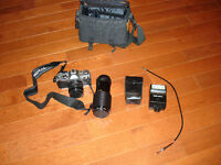 Canon 35mm AE-1 Camera with 58mm lense, Flash, & Case