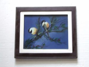 Decorative leather framed bird scenery print accent London Ontario image 1