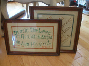 Pr. HAND-CRAFTED OLD VINTAGE SPIRITUAL WOOD FRAMED WALL-HANGINGS