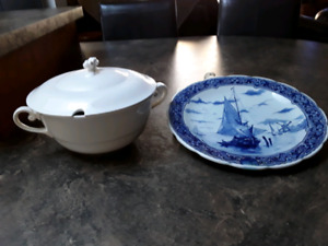 Delfts plate  and Pregout&Co Maastricht serving dish