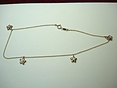 14K YELLOW GOLD STAR ANKLET WITH BRIGHT CZs - NEW WITHOUT TAGS