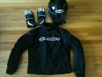 Lady's motorcycle jacket, helmet and gloves