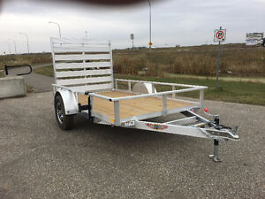 All Aluminum H & H  5.5x10 Rail Side single axle utility trailer