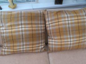 Ochre tartan style cushions