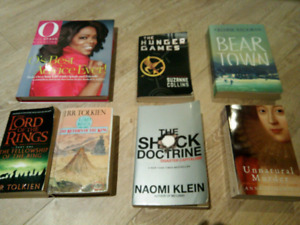 books for sale, fiction and non fiction, $5 each