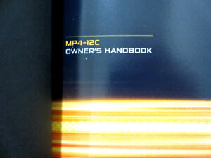 McLAREN MP4-12C OWNERS MANUAL FOR SALE - LIKE NEW