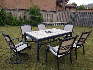 Aluminum Patio Table and 6 Chairs