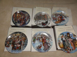 SCENES OF CHRISTMAS PAST PLATES SET OF 6 BY STEWART SHERWOOD