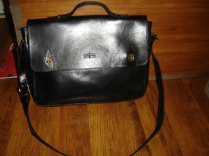 Man Black Italian Leather Purse (Shoulder Bag)