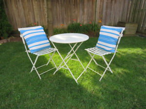 Metal Bistro Set with Outdoor Cushions