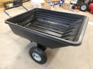 AGRI FAB 8 CU FEET POLY TOW DUMP CART WITH HITCH - NEW TIRES